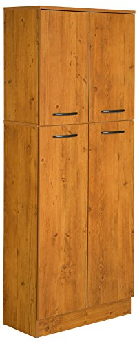 South Shore 4-Door Storage Pantry with Adjustable Shelves, Country Pine