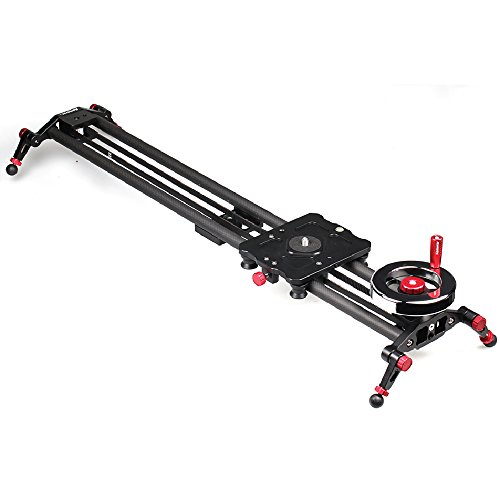 "Kamerar 31"" Fluid Motion Video Slider: Flywheel, Counterweight, Light Carbon Fiber Rails, Adjustable Legs, DSLR Camera/Camcorder Stabilization Track"
