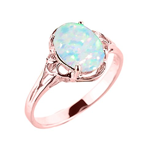 Elegant 10k Rose Gold Oval October Birthstone Solitaire Ring (Size 7) ()