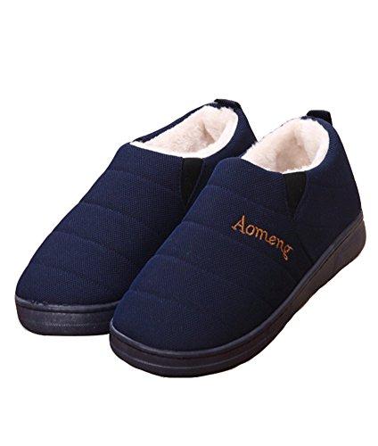 Agowoo Heren Anti Slip Dikke Zool Fuzzy Warme Bootie Pantoffels Marine