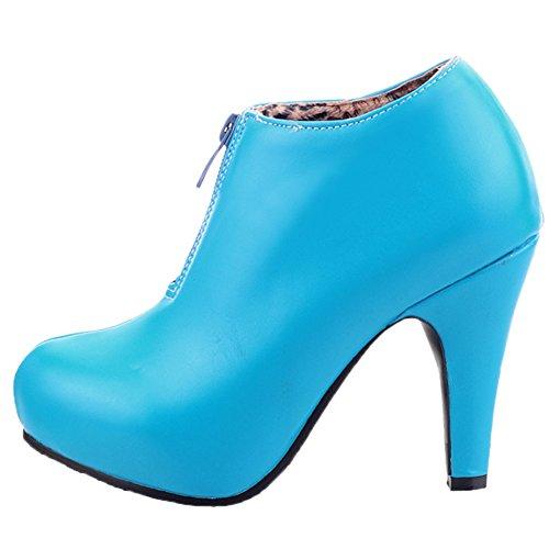 HooH Femmes Bottines Fermeture éclair Plateforme Talon haut Court Bottes Bleu mdGnc