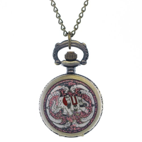 Shaped Necklace Watch - FobTime Mini Fashion Purple Elephant Cover Bronze Animal-shaped Pocket Watch Pendant Necklaces