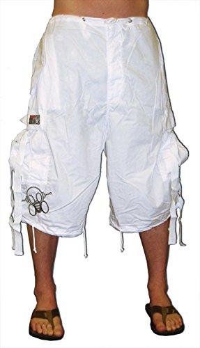 Ghast Unisex Cargo Drawstring Rave Dance Shorts, White Small (Dancing Machine Mc Hammer)