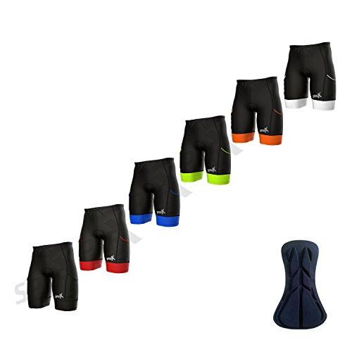 Sparx Men's Active Triathlon Short Tri Cycling Short Swim Bike Run (Black/White, ()