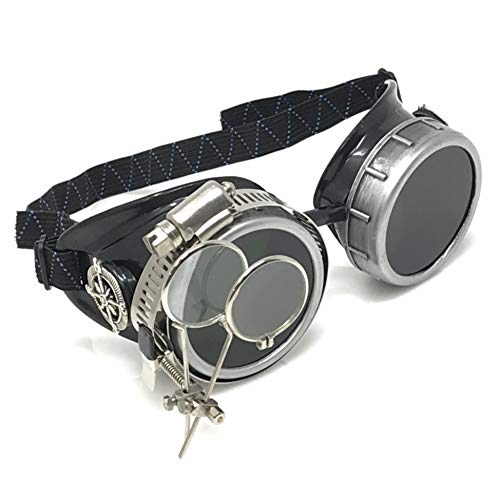 Steampunk Handcrafted Victorian Style Goggles with Compass Design and Double Ocular Loupe