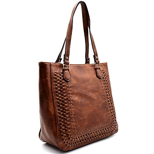 (Madison West Large Zip-Top Shoulder Tote w/Braided Accent (Brown))