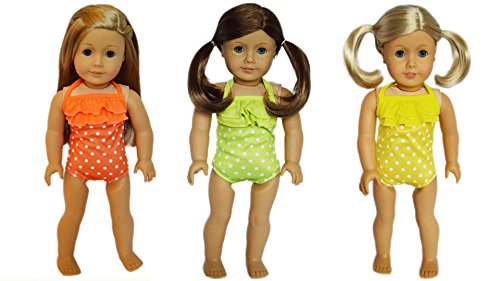 Brittany's My Three Pack of Swimsuits Compatible with American Girl Dolls- Orange, Lime and Yellow
