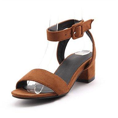 LvYuan Mujer-Tacón Robusto-Innovador-Sandalias-Boda Oficina y Trabajo Vestido Informal Fiesta y Noche-Vellón Materiales Personalizados-Negro gray