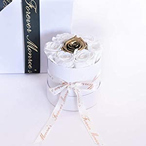 White & Gold Roses in a Round White Box, Luxury Long Lasting Preserved Real Roses that last a year, Beautiful Flower Bouquet Gift for her