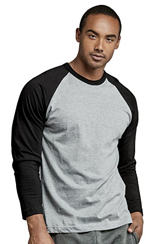 Men's Full Sleeve Casual Raglan Jersey Baseball Tee Shirt (S, BLK/LGR)