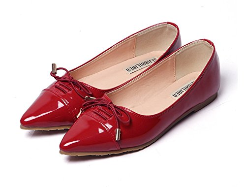 Toe Red Womens Slip No Shoes Top Flats Heel Easemax Bowknot Low Pointed On Fashion 1Sn4qA