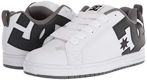 DC Men's Court Graffik Skate Shoe, White/Heather Grey,10 M US