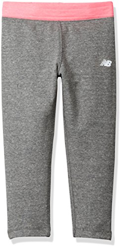 New Balance Big Girls' Athleisure Pant, Black Heather/Pink, 10/12