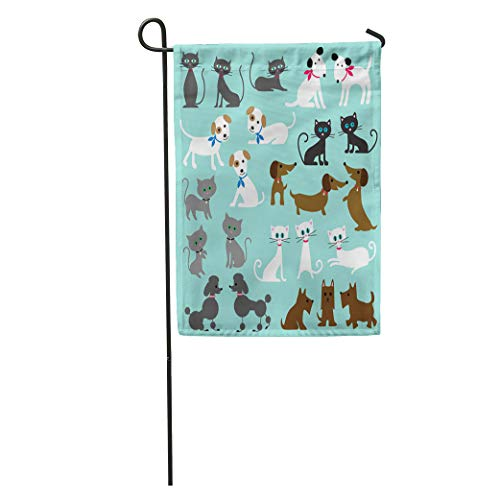 Semtomn Garden Flag Brown Cute Cats and Dogs Black Clipart Scottie Grey Poodle Home Yard Decor Barnner Outdoor Stand 12x18 Inches Flag
