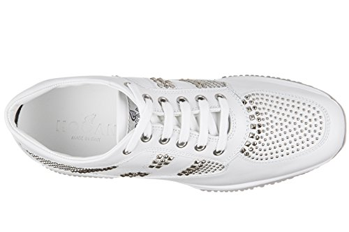 Hogan Mujeres Zapatos Leather Trainers Sneakers Interactive Multi Borchie White