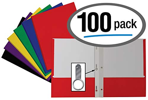 Letter Size Paper Portfolios by Better Office Products, Case of 100, Assorted Primary Colors, with Fasteners (Assorted, 2 Pocket Paper Folders with - Professional Case Portfolio