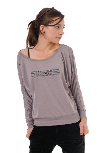 Fledermaus T-Shirt Damen mit langen Ärmeln / Langarmshirt locker & luftig von 3Elfen mit Om Magie Element - schulterfreis Top - braun schwarz M