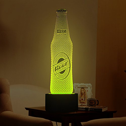 Tons 3D Night Light Colorful Touch Control Light 7 Colors Change USB LED for Desk Table with Multicolored USB Powered Home Decoration Best Gift for Kids (Beer Bottle) ()