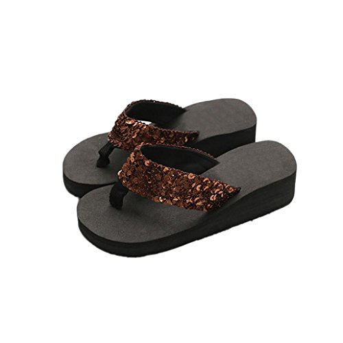 Hot Sale!Women Flip-Flops 2018,Todaies Women's Summer Sequins Anti-Slip Sandals Slipper Indoor & Outdoor Flip-Flops (US:9, Coffee) - Today Sale