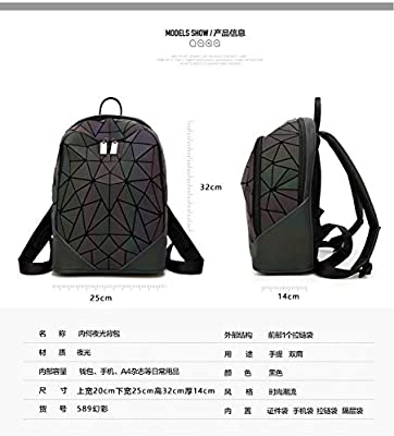 Zlk Backpack Geometric Rhombic Backpack Laser Shoulder Bag Collapsible Silicone Diamond Backpack