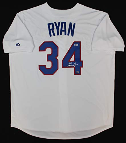 - Nolan Ryan Autographed White Rangers Jersey - Hand Signed By Ryan and Certified Authentic by Nolan Holo - Includes Certificate of Authenticity