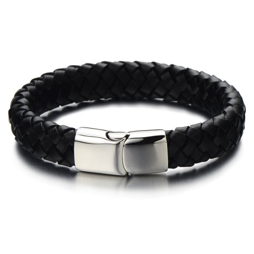 Wide Black Braided Leather Bracelet for Men Genuine Leather Wristband with Magnetic Box Clasp