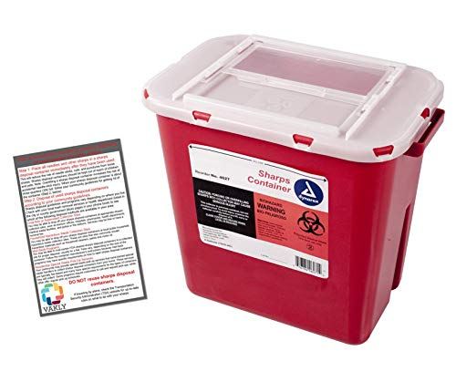 Sharps Container 2 Gallon - Plus Vakly Biohazard Disposal Guide (1 - 3 Cartridge Bio