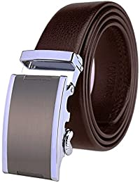 Men's Leather Belt Ratchet Automatic Buckle (Sliding Buckle) Belt Man Designer Black Luxury Strap