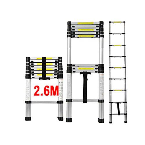 QITAO É chelle té lescopique 2.6M en aluminium bricolage pliable extensible unique droite Multi-fonction Ladder charge 330lbs (150 kg) (8.5TF / 2.6M) Shenzhen QITAO Technology Co. Ltd.