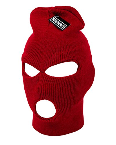 - Ski Mask Beanie Knit Cap 3 Hole Face Warm Winter Snow Headwear Skully Originals Brand (Red)