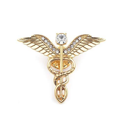 WLLAY 3 Colors Crystal Medical Caduceus Doctor Nurse Brooch Pin Gifts (Gold)