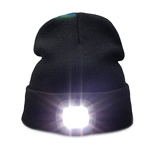 Kingnew 4 LED Knit Hat USB Rechargeable Flashlight Free Headlamp Cap Unisex Winter Warmer Knit Cap for Hunting,Camping,Grilling Running (Black)