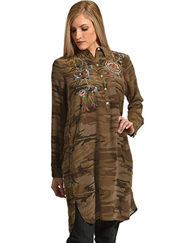 Johnny Was Women's Camo Marchella Shirt Kurta Camouflage Large by Johnny Was
