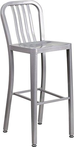 Kenwood Season Series 30'' High Metal Indoor-Outdoor Barstool with Vertical Slat Back
