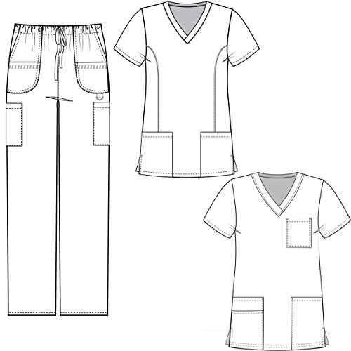 1793a85814a Medgear 3-Piece Tri-blend Scrubs Set with Printed Scrub Top Combo 7895-FPDT  - Buy Online in Oman. | Apparel Products in Oman - See Prices, Reviews and  Free ...