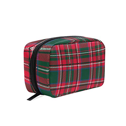 Makeup Cosmetic Bag Scotland Red Green Buffalo Plaid Portable Travel Train Case Toiletry Bags Organizer Multifunction Storage Bag