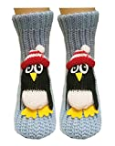 PreSox Non-slip Knit Sweater Warm Household Floor Socks for Women (dull blue penguin)(Size: One Size)