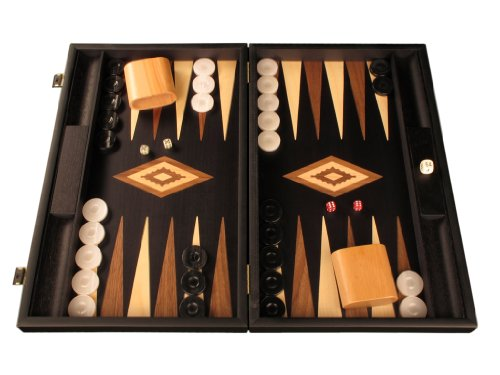 Elegant Wood Backgammon Set - Board Game - Large, - Black Backgammon Wood