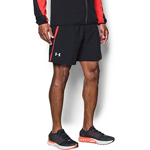 2 Under Mens Woven Shorts - Under Armour Men's Launch 2-in-1 Shorts,Black (004)/Reflective, Large