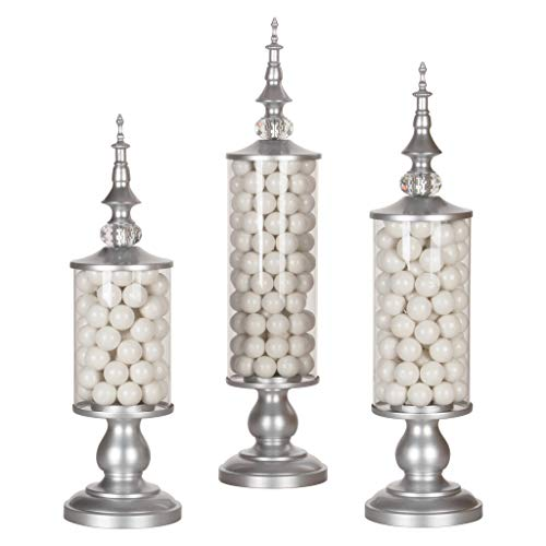 AMALFI DÉCOR Apothecary Jars Set of 3 Clear Glass Candy Dish Holder with Metal Lids Cookie Jar Buffet Display, Silver