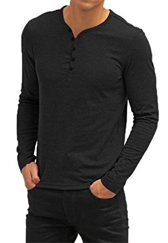 Aiyino Men's Casual V-Neck Button Cuffs Cardigan Long Sleeve T-Shirts Black