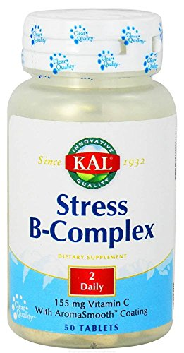 Kal - Stress B-Complex 155 mg Vitamin C with AromaSmooth Coating - 50 Tablets (50 Tab Stress B-complex)