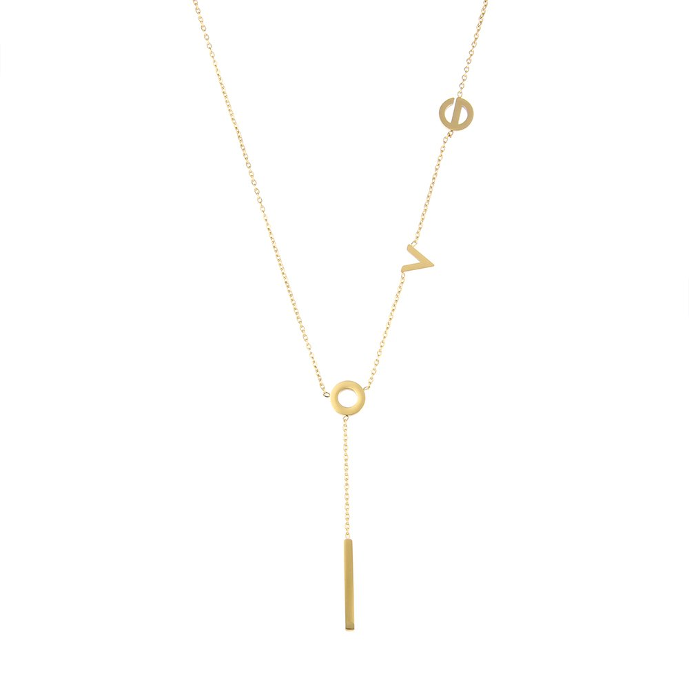 LUREME Women's Stainless Steel Love Y Shaped Necklace Circle Lariat Necklace-18K Gold (nl005577-2)