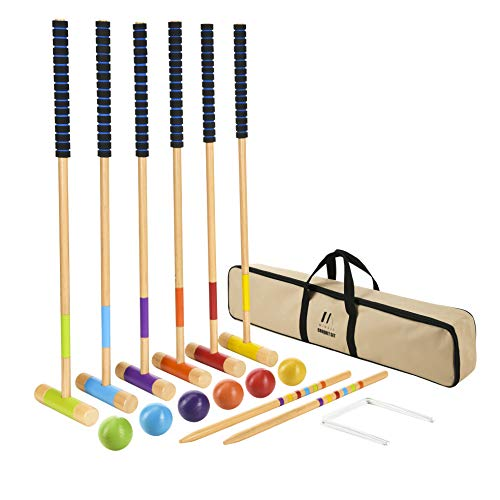 M MINGLE 35 inch Deluxe Croquet Set for Adults, Kids and Families with Carrying Case (Croquet Game)