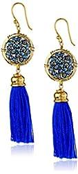 Panacea Blue Crystal Tassel Earrings