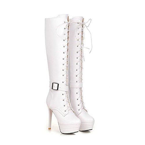 VogueZone009 Damen Blend-Materialien Rund Zehe Rein Knie Hohe Hoher Absatz Stiefel Weiß