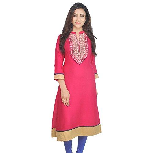 Chichi Indian Women Kurta Kurti 3/4 Sleeve Large Size Plain with Jaipuri Embroidered Straight Red-Cream Top by CHI