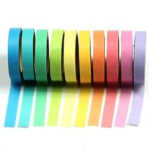 HeroNeo® 10x Decorative Washi Rainbow Sticky Paper Masking Adhesive Tape Scrapbooking DIY (10pcs Rainbow Tape)
