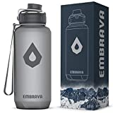 Embrava 40oz Water Bottle - Large with Travel Carry Ring - Wide Leak Proof Drink Spout - Heavy-Duty, BPA & BPS Free Tritan Plastic – Best for Sports, Camping, Gym, Work, Outdoors