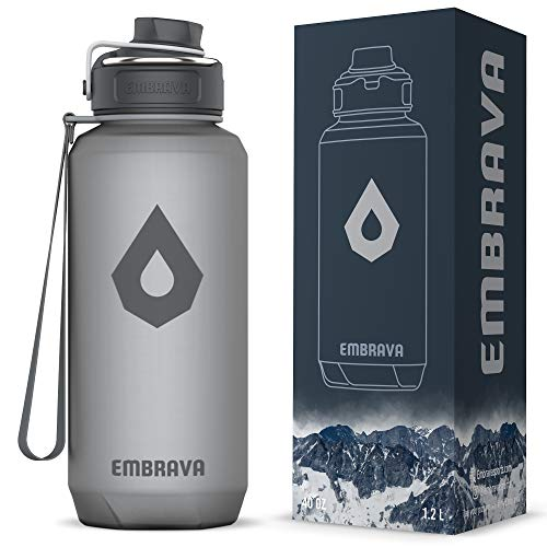 Embrava 40oz Water Bottle - Large with Travel Carry Ring - Wide Leak Proof Drink Spout - Heavy-Duty, BPA & BPS Free Tritan Plastic – Best for Sports, Camping, Gym, Work, Outdoors ()